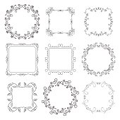 floral decorative frames - vector set