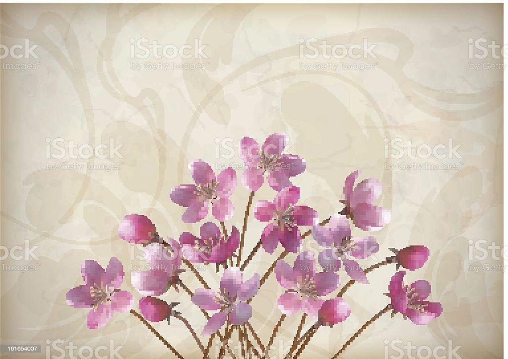 Floral decorative wedding or invitation design royalty-free stock vector art