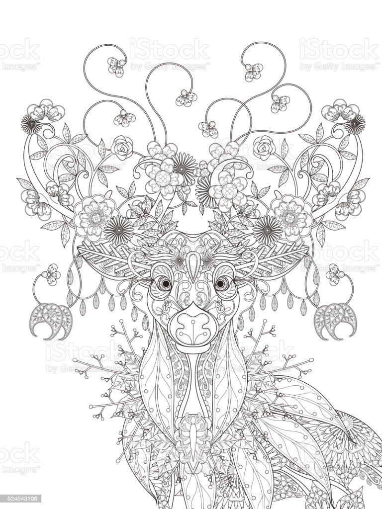 Ilustración de Ciervo Flores Adultos Página Para Colorear y más ...