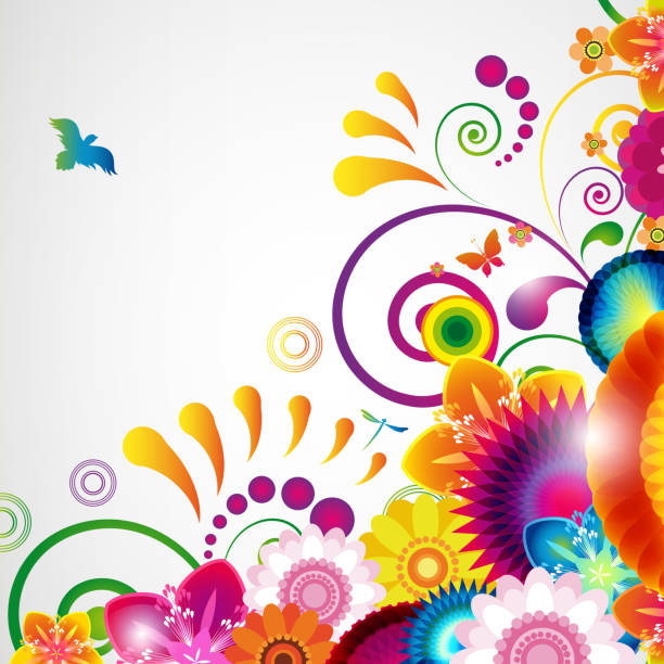 floral design-hintergrund. - schwimmpflanzen stock-grafiken, -clipart, -cartoons und -symbole
