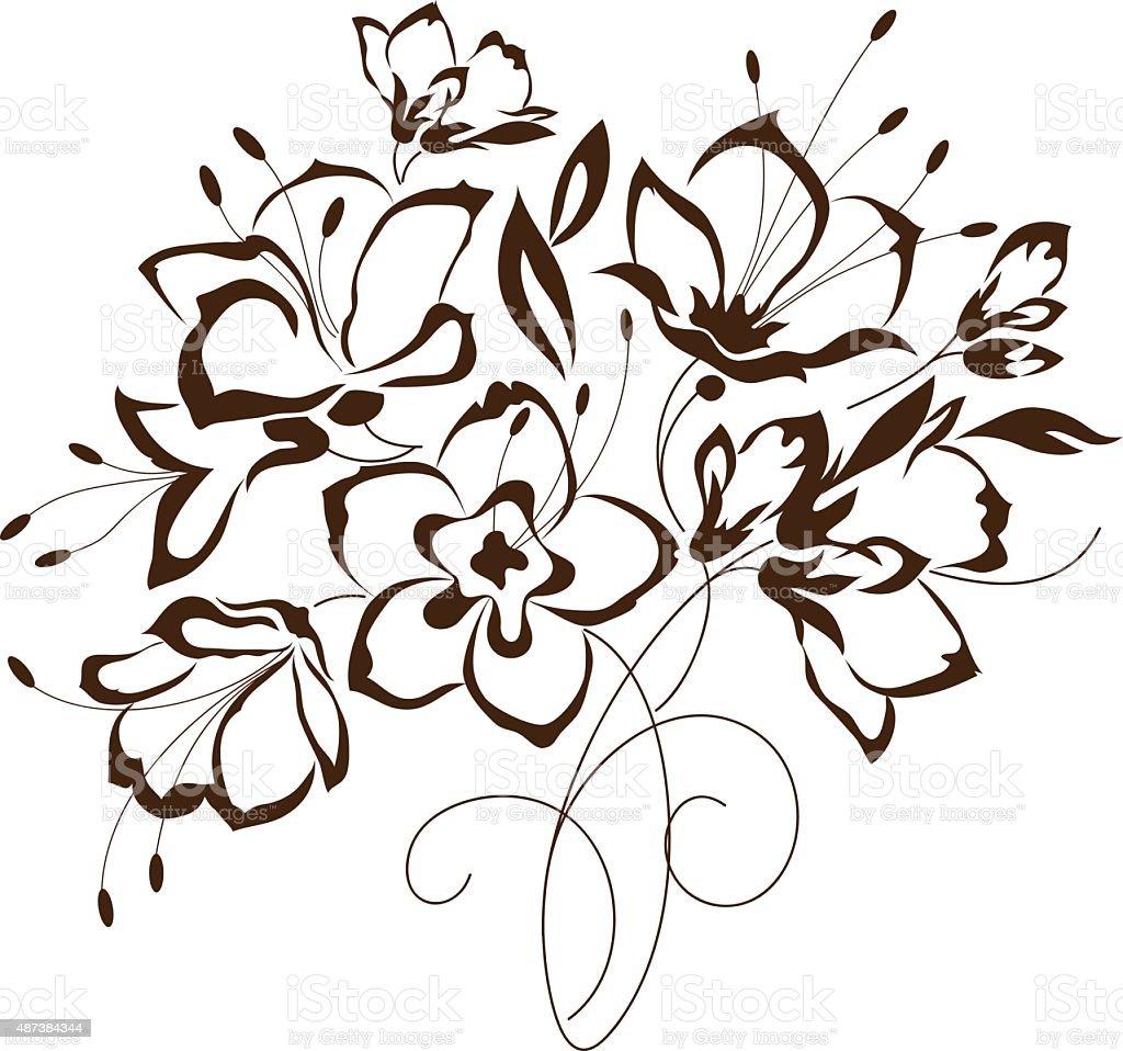 Fleurs Stylisées motif floral bouquet de fleurs stylisées – cliparts vectoriels et