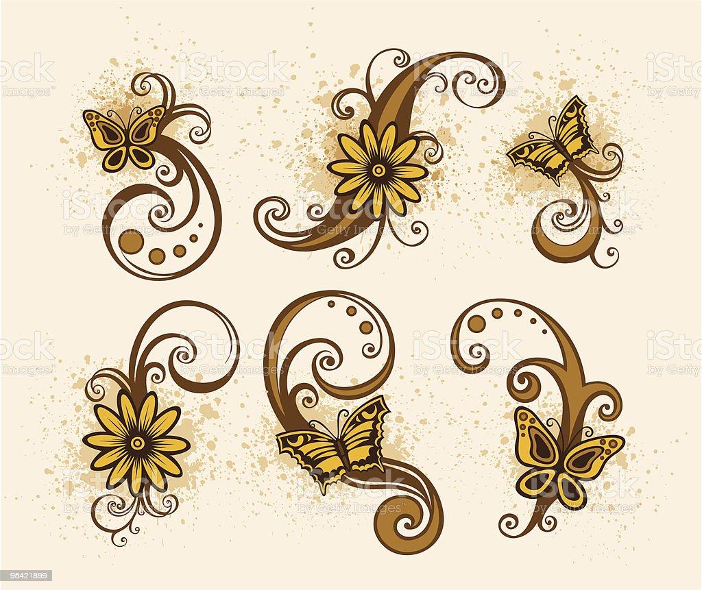 Floral design-element Lizenzfreies floral designelement stock vektor art und mehr bilder von abstrakt