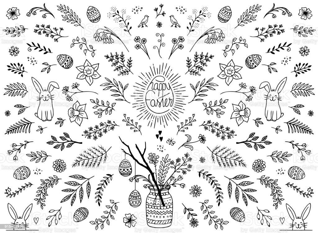 Floral design elements for Easter vector art illustration