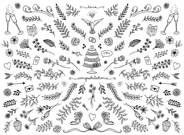Floral design elements for wedding cards Hand sketched floral design elements for wedding cards, flowers and leaves for text decoration wedding cake stock illustrations