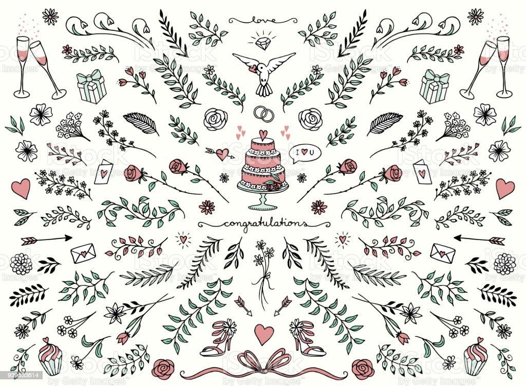 Floral Designelemente Fur Hochzeitskarten Stock Vektor Art Und Mehr