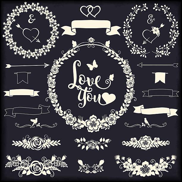 floral design elements for weddings and gratitude cards romantic collection - blumengirlanden stock-grafiken, -clipart, -cartoons und -symbole