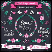 Floral design elements Romantic collection. Floral graphic set on a dark gray grunge background with pink swirls, arrows, wreaths, branches, flowers, birds, ribbons, ampersands and sayings.