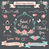 Floral design elements Romantic vintage collection. Floral graphic set on a dark gray background with pink swirls, arrows, wreaths, branches, flowers, birds, ribbons, ampersands and sayings.