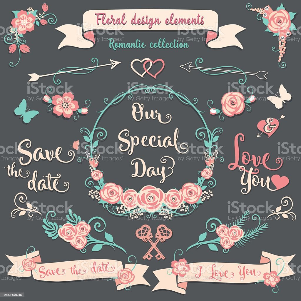 Floral design elements Romantic vintage collection royaltyfri floral design elements romantic vintage collection-vektorgrafik och fler bilder på band