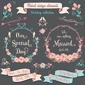 Floral design elements Romantic vintage collection. Floral graphic set on a dark gray background with pink swirls, arrows, wreaths, branches, flowers, birds, ribbons, ampersands,lock, keys and sayings.
