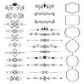 Floral design elements set, ornamental vintage frames with crowns