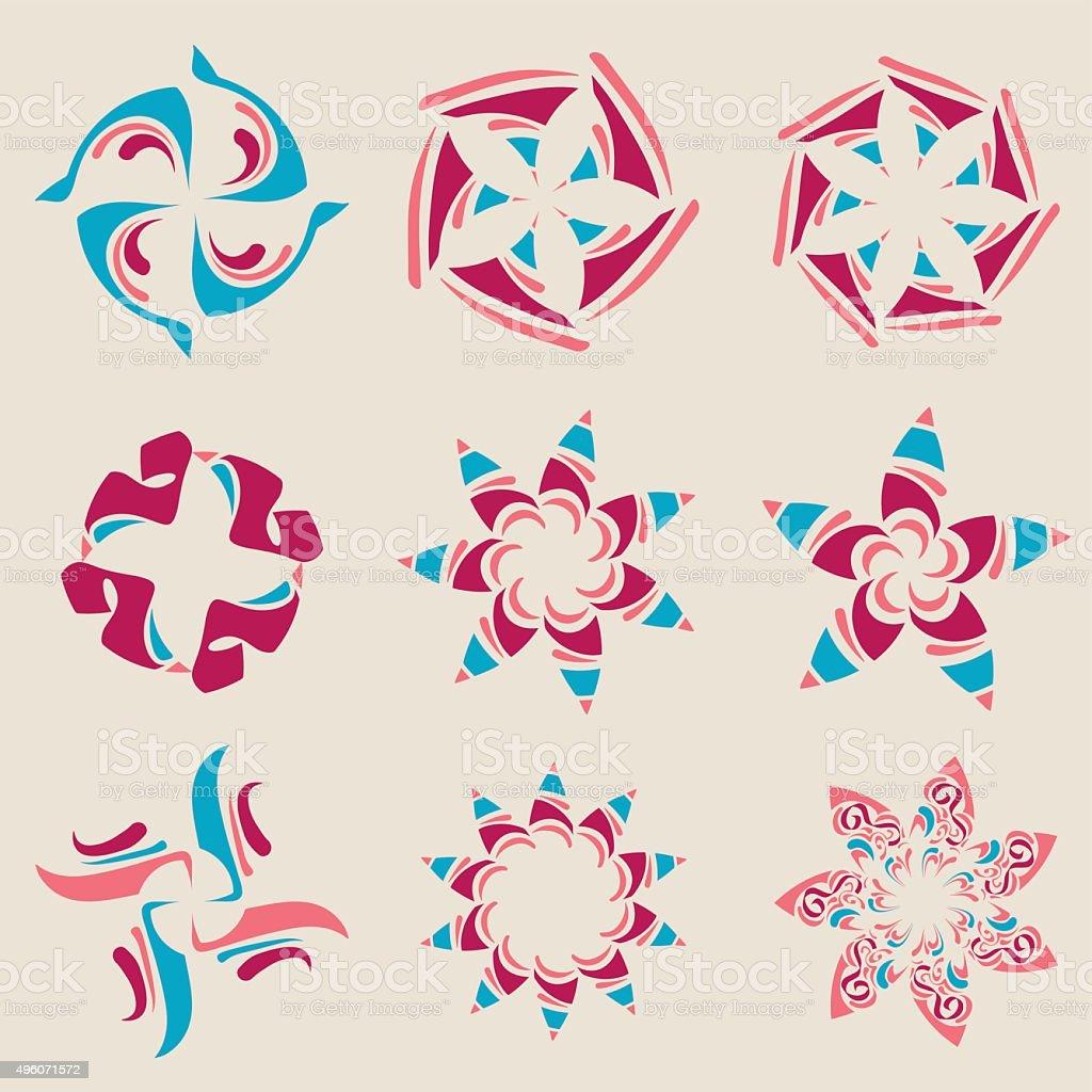 Floral Design Elements Set vector art illustration
