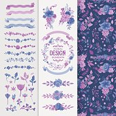A complete toolset of floral design elements. Includes wreath designs, ribbons, labels, a seamless pattern and other design elements, perfect for wedding invitations, greeting cards and other seasonal collaterals. EPS 10 file, layered & grouped.