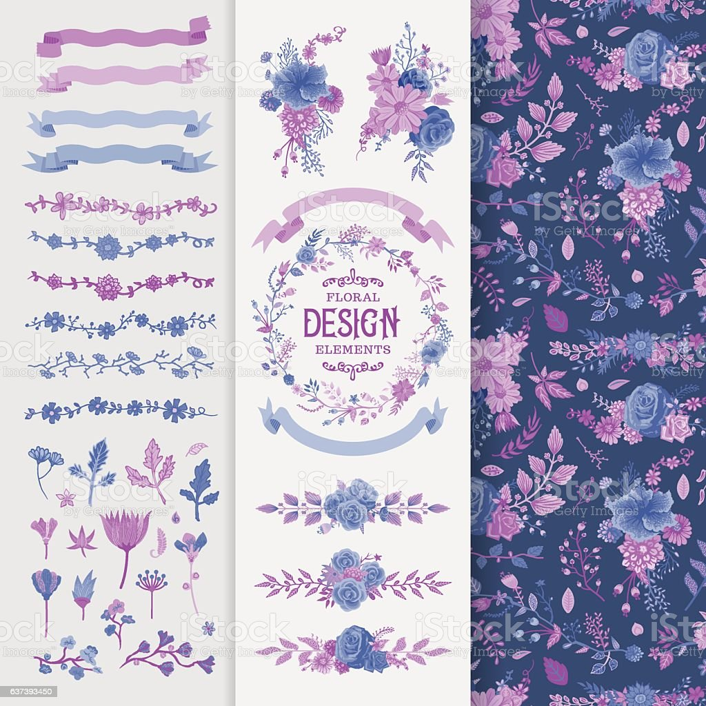 Floral Design Elements Toolset vector art illustration