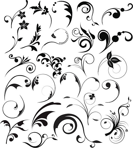 floral design elements - vine stock illustrations, clip art, cartoons, & icons