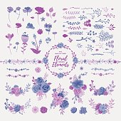 A set of floral design elements, perfect for wedding invitations, greeting cards and other seasonal collaterals. EPS 10 file, layered & grouped.