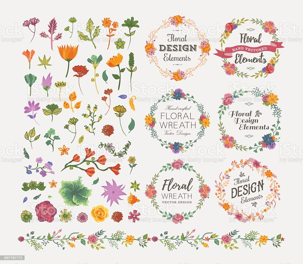 Floral Design Elements vector art illustration