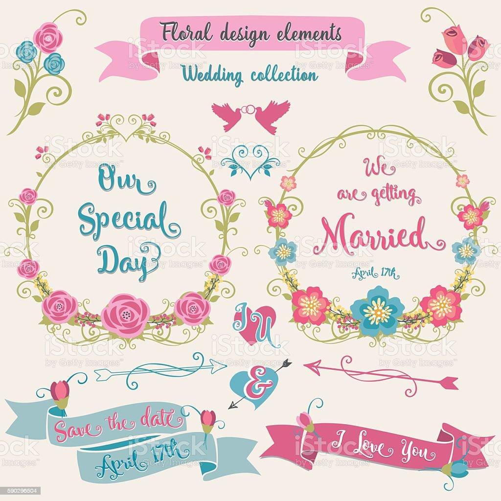 Floral design elements Wedding collection royaltyfri floral design elements wedding collection-vektorgrafik och fler bilder på band