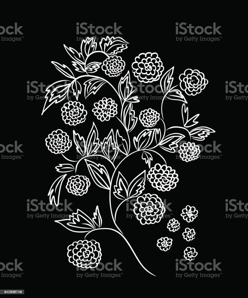 Floral design embroidery pattern colorful vector