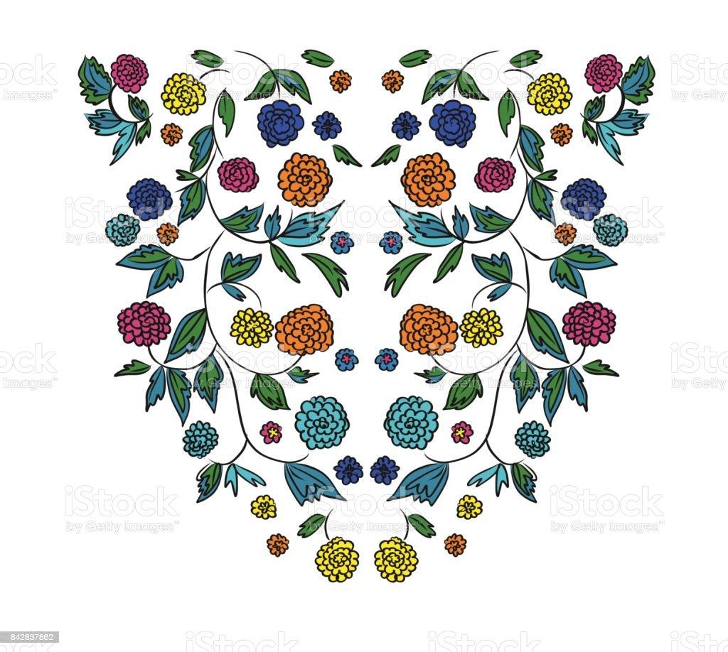 Diseño Floral Patrón Del Bordado Dibujado A Mano Ilustración ...