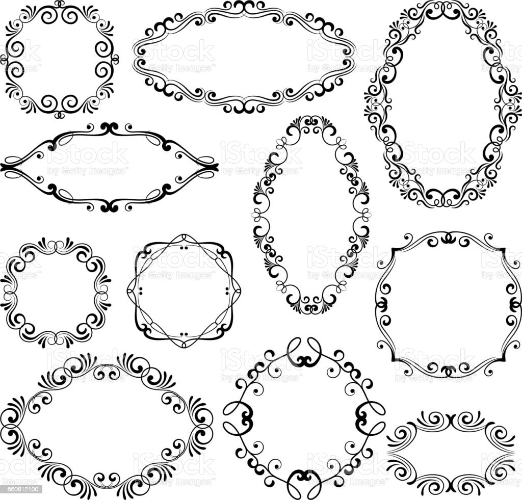 floral design filigree frame elements vector black royal frames for