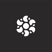 floral design icon. Filled floral design icon for website design and mobile, app development. floral design icon from filled floral design collection isolated on black background.
