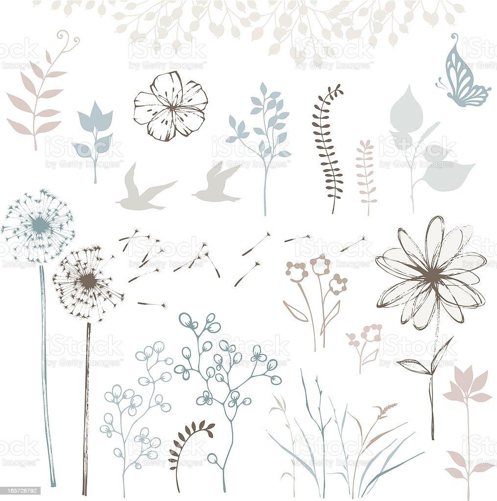 Floral Design Set royalty-free stock vector art