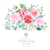 Floral design vector border in watercolor style. Rose, hydrangea, eucalyptus, dahlia. Pink and striped red flowers. Botanical greenery set. Bouquets of garden spring flowers.All elements are isolated