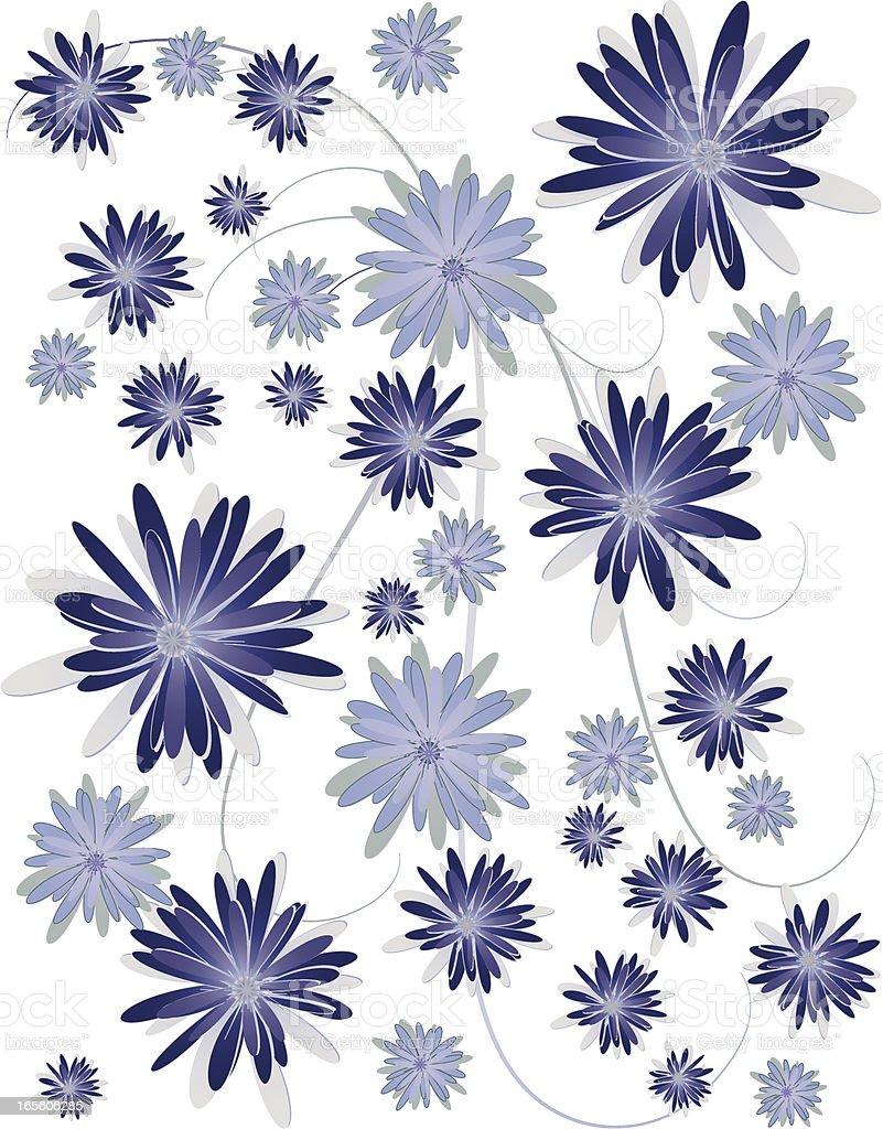 Disegno Floreale Con Stilizzato Chrysanthemums E Tralci In Ricco