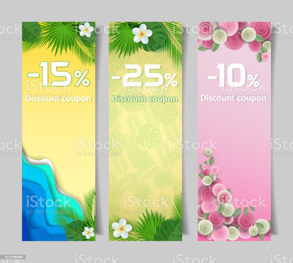 floral discount coupon vector paper cut templates stock vector art
