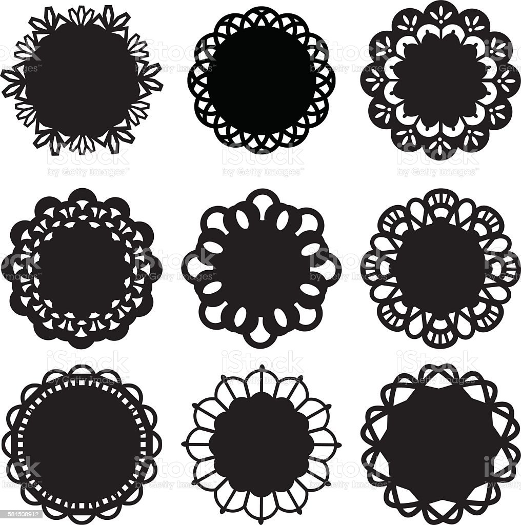 Floral Doily Lace Decoration Design Elements vector art illustration