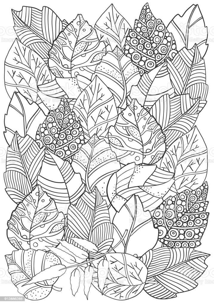 Floral doodle background pattern in vector with autumn leaves. Design Asian, ethnic, tribal pattern. Black and white. Coloring book. A4