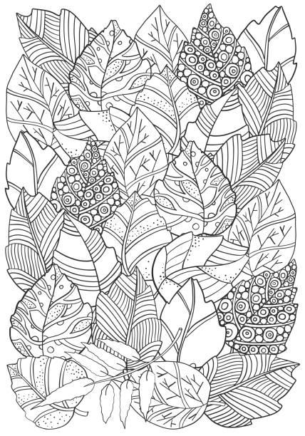 꽃 낙서가을 잎 벡터에서 배경 패턴입니다. 아시아, 민족, 부족 패턴 디자인. 흑인과 백인입니다. 색칠 공부 책입니다. a4 - 색칠하기 stock illustrations