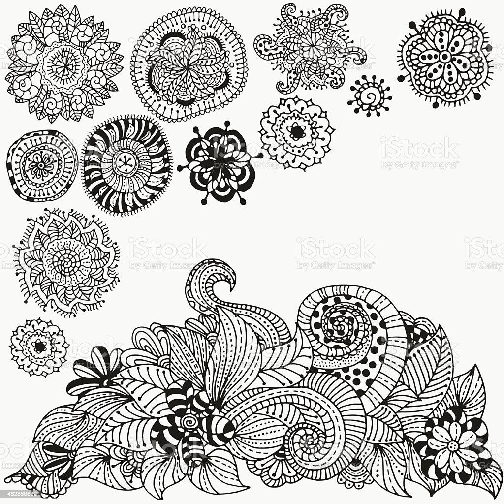 petits dessins gribouillis griffonnages floral noir et blanc motif vector cliparts vectoriels. Black Bedroom Furniture Sets. Home Design Ideas