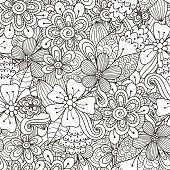 Floral doodle black and white seamless pattern