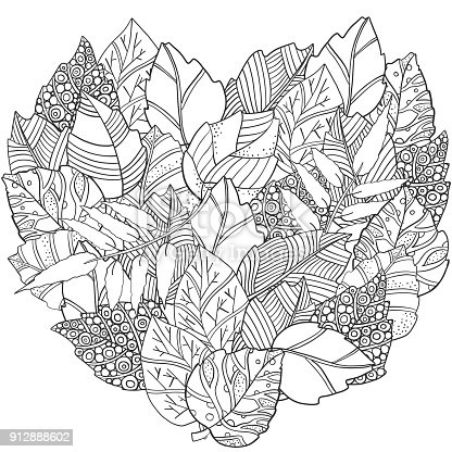 Floral Doodle Heart Shaped Pattern In Vector With Autumn Leaves Design Asian Ethnic Tribal Black And White Coloring Book Stock Art