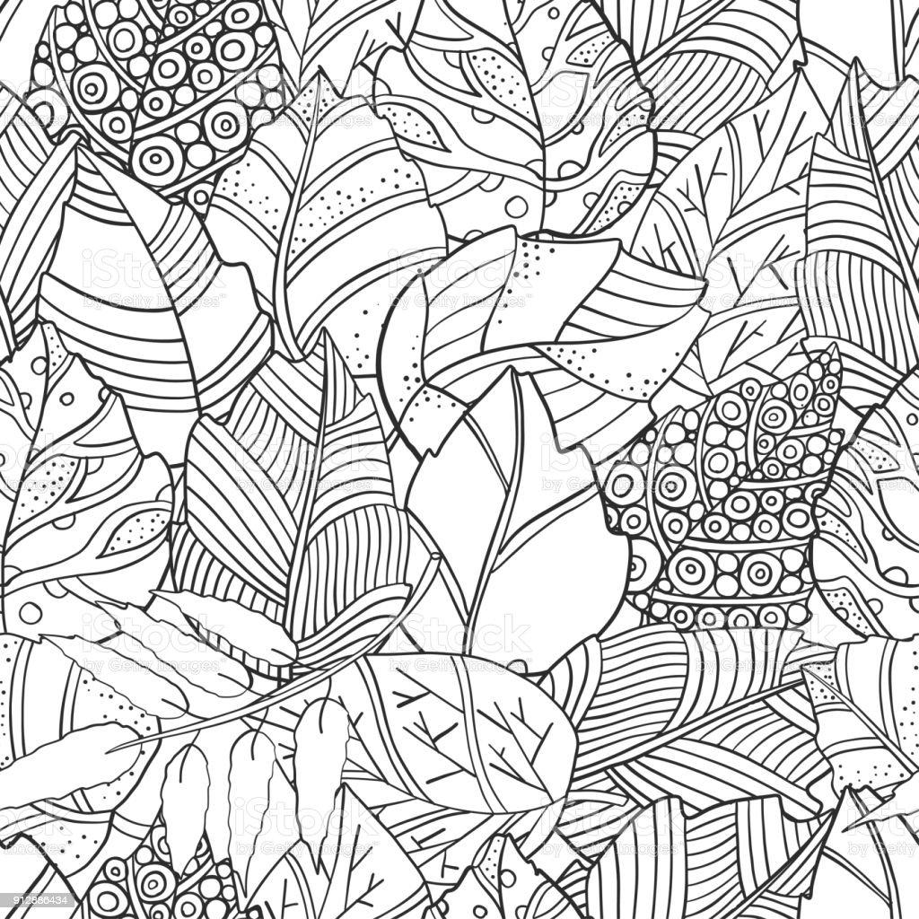 花の落書き紅葉ベクターのシームレスなパターンアジアエスニックの