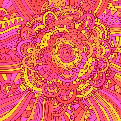 Floral doodle trippy psychedelic mandala artwork. Line multicolor realistic drawing. Doodle pink rose flower. Vector illustration