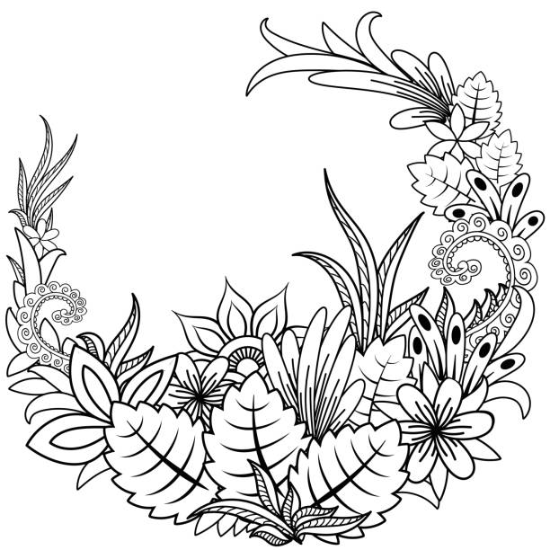 illustrazioni stock, clip art, cartoni animati e icone di tendenza di floral doodle. vector illustration zentangl. meditative exercises. coloring book anti stress - farfalla ramo