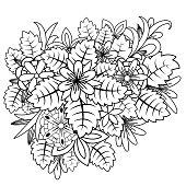 Floral doodle. Vector illustration zentangl. Meditative exercises. Coloring book anti stress.