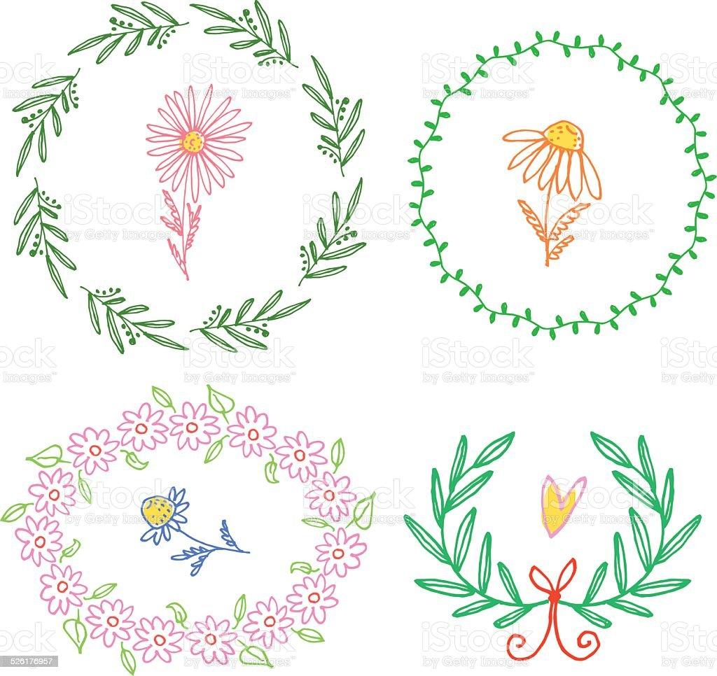 Floral doodle wreaths. vector art illustration