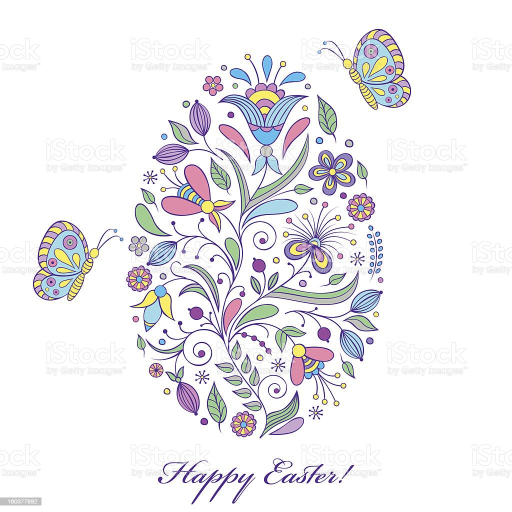 floral easter egg royalty-free floral easter egg stock vector art & more images of abstract