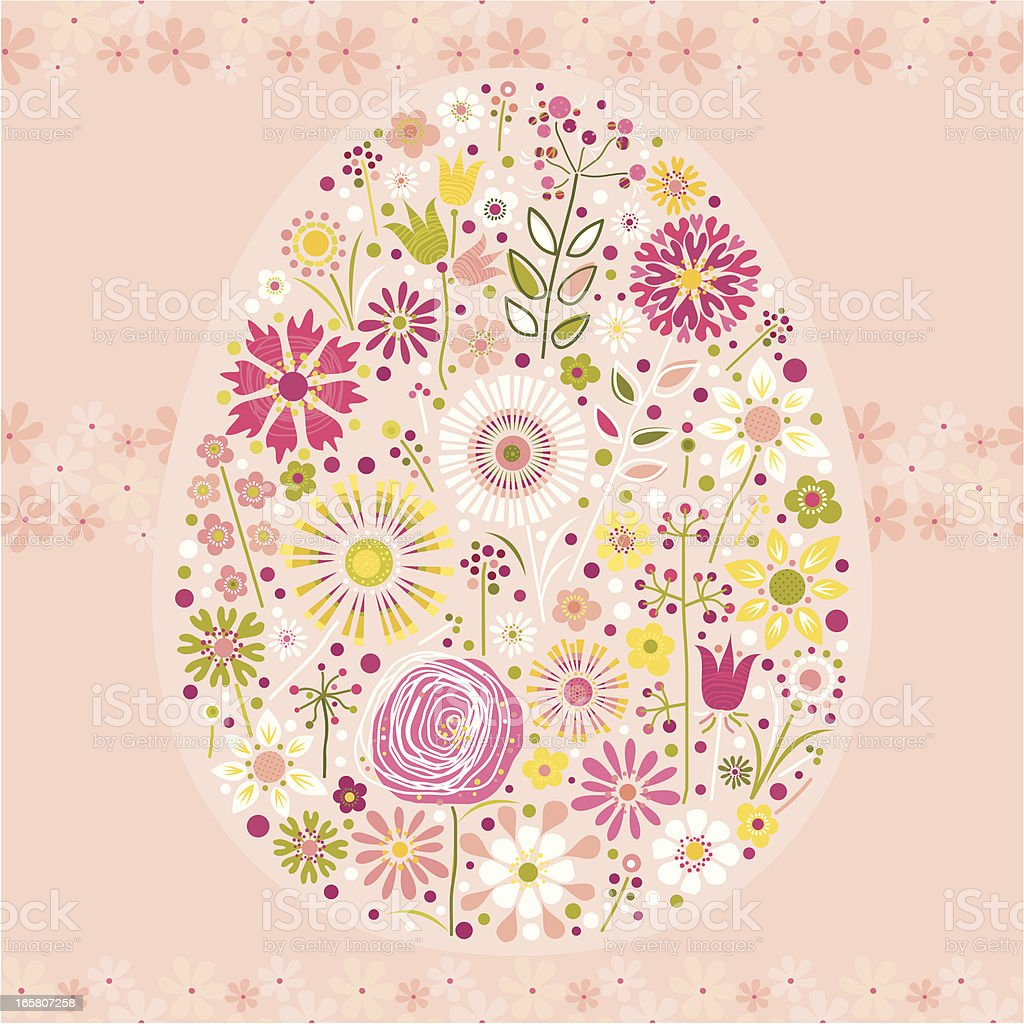 Floral Easter Egg (Pink Background) royalty-free floral easter egg stock vector art & more images of art and craft