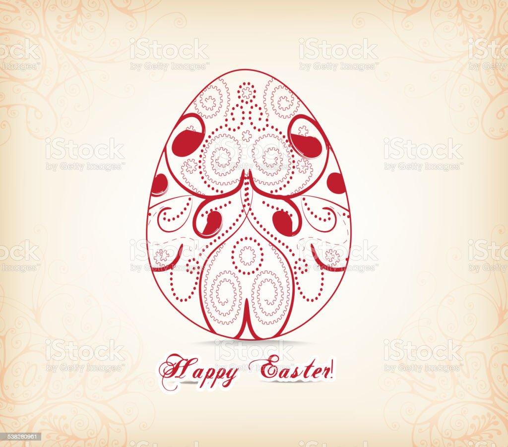 Floral easter egg vector art illustration