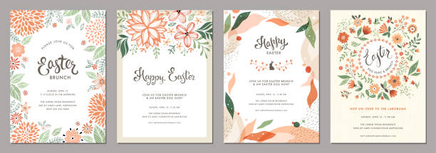 Floral Easter Templates_01 Trendy floral Easter templates. Good for poster, card, invitation, flyer, cover, banner, placard, brochure and other graphic design. springtime stock illustrations