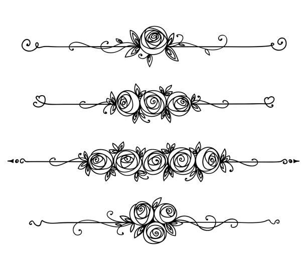 Floral elegante Muster schwarz und weiß. Vintage-Element für Dekor Linie Kunst. Rosenblume Umriss – Vektorgrafik