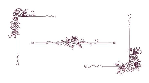 Floral elegante Muster schwarz und weiß. Cover Page Design. Vintage-Elemente für Dekor-Linienkunst. Rosenblütenumrandung – Vektorgrafik