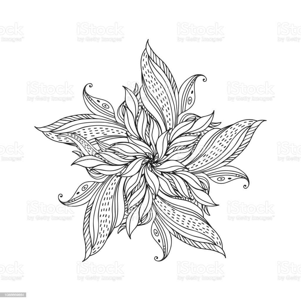 Floral Element Abstract Flower Sketchhand Drawn Outline