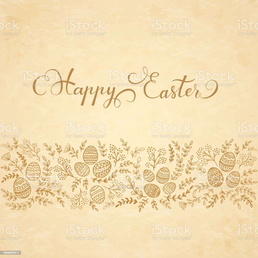 Floral Elements And Lettering Happy Easter On Beige Background Royalty Free  Floral Elements And Lettering