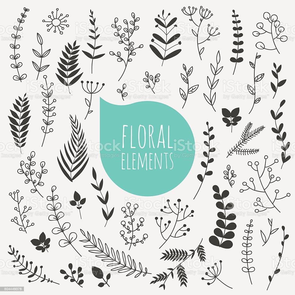 Floral elements. Collection of spring flowers, leaves, dandelion vector art illustration